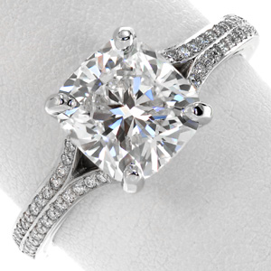 Cushion cut split shank engagement similar to the Great Gatsby ring