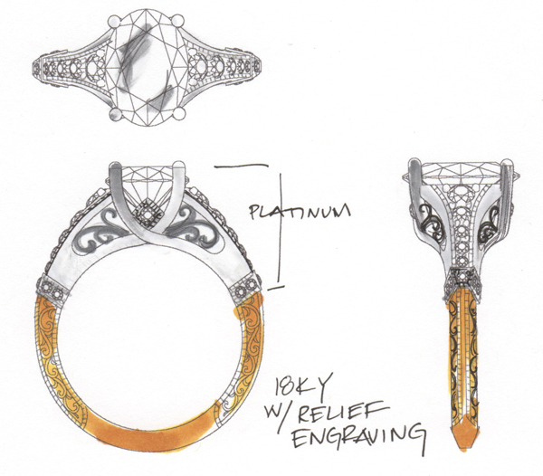 Sketch for custom engagement ring