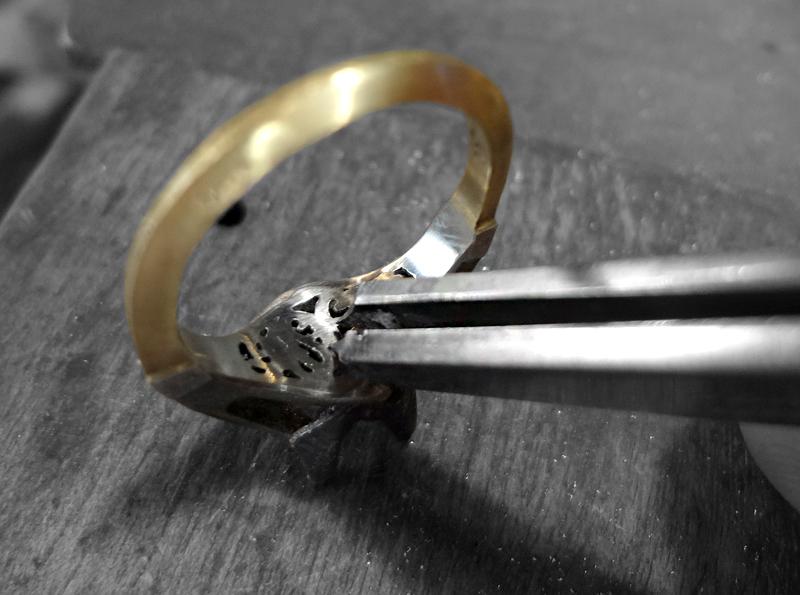 Monogram on inside of engagement ring
