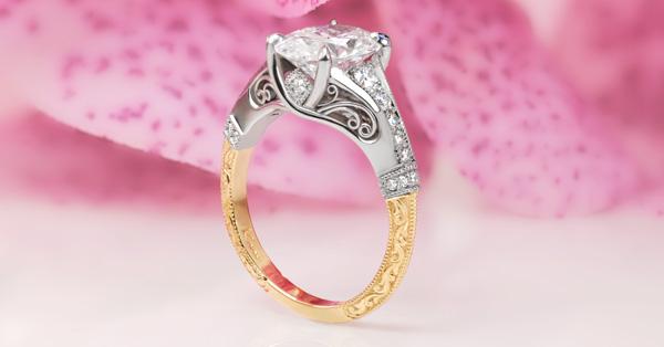 Unique Engagement Rings with Filigree and Platinum