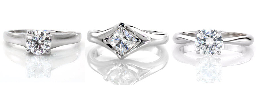 A selection of Knox Jewelers created solitaire engagement rings.