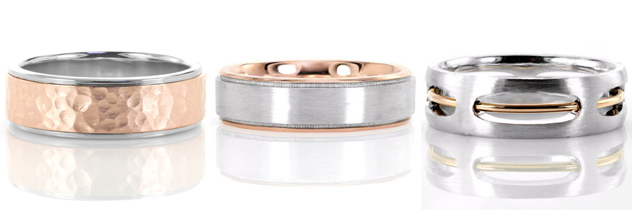A selection of two tone rose gold gents wedding bands created by Knox Jewelers.