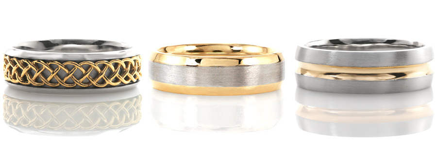 A selection of two tone yellow gold gents wedding bands created by Knox Jewelers.