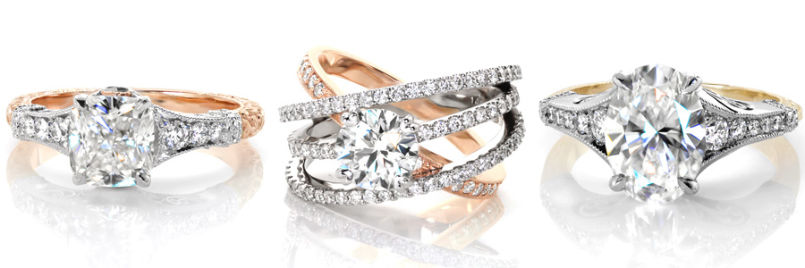 A selection of two tone engagement rings created by Knox Jewelers.
