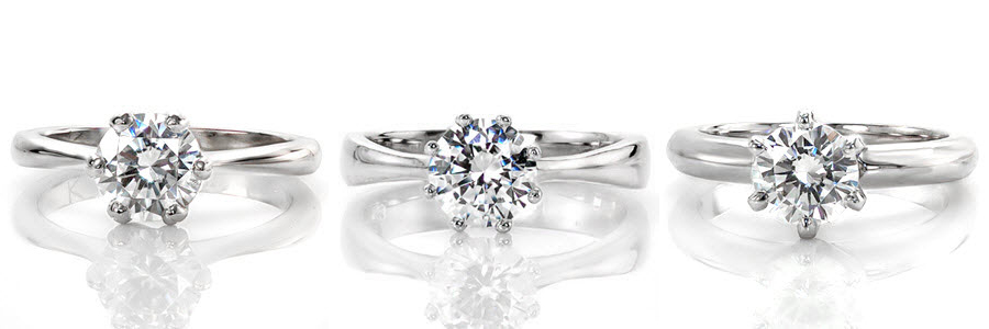 A selection of solitaire engagement ring created by Knox Jewelers.