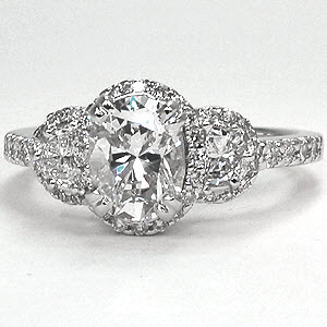 Cushion cut diamond engagement ring with half moon shape diamonds