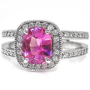 Pink Cushion Cut Sapphire in a split shank micro pave engagement ring