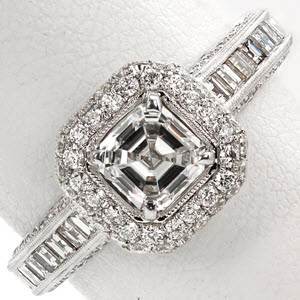 Knox Passion Ring - Antique Engagement Ring showing Pave and Carre Cut diamonds.