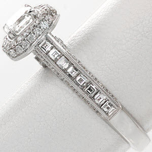 Knox Passion Engagement Ring - Top down view showing prong set asscher cut diamond and micro pave halo crown 