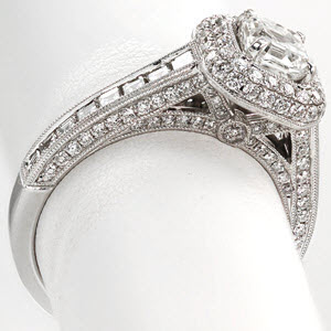 Knox Passion Engagement Ring - Side view showing bright cutting, pave diamonds, and antique milgrain.
