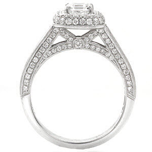 Knox Passion Engagement Ring - Side view showing Carre cut channel set diamonds and antique filigree.