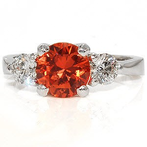 Stunning orange sapphire engagement ring 