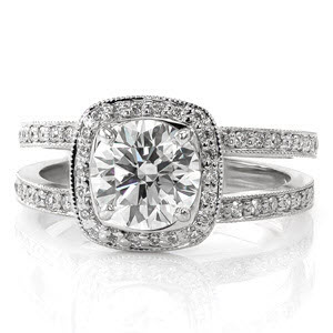 Cushion halo split shank micro pave engagement ring