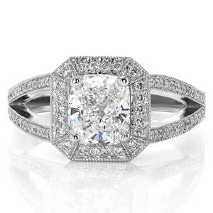 Micro pave split shank cushion cut custom engagenment ring design with hand made filigree