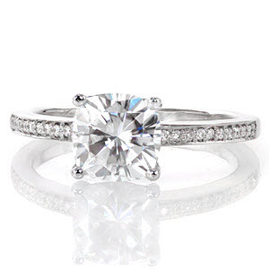 Thin diamond band with cushion cut center stone