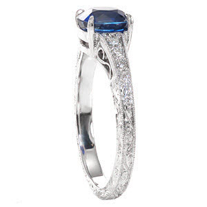 The Number One Ring from Our Top Ten Most Beautiful Ring List is our Barcelona design shown here with a cushion cut blue sapphire center stone.
