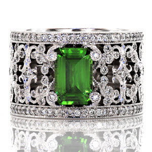 Knox Heirloom Band &quot;Caledonia&quot; with 1.15 ct. emerald cut green tourmaline