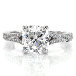 2.20 carat cushion cut diamond in split shank engagement ring
