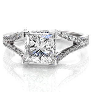2.00  carat princess cut set in a beautifully delicate micro pave split shank design