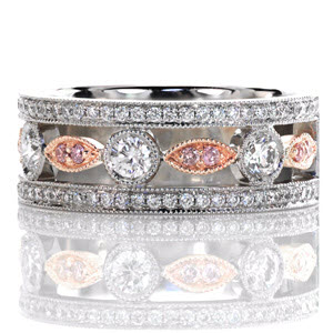 Knox Heirloom Band &quot;Dolce&quot; with fancy pink diamonds set in 14k Rose Gold.