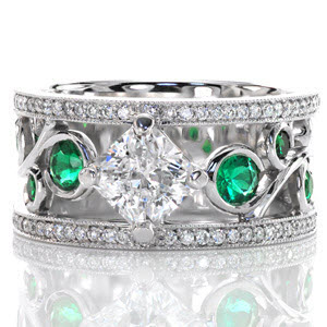 Knox Heirloom Band, Nic and Alex with emeralds set in filigree make this a truly unique engagement ring.