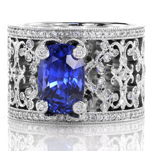 Knox Heirloom Band &quot;Caledonia&quot; with 3.60 carat cushion cut blue sapphire