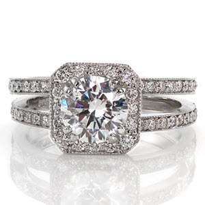 Round center diamond split shank with octagonal halo micro pave engagement ring