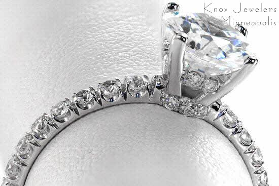 Good example of of Hand Cut (U-cut) Micro Pave Engagement Ring
