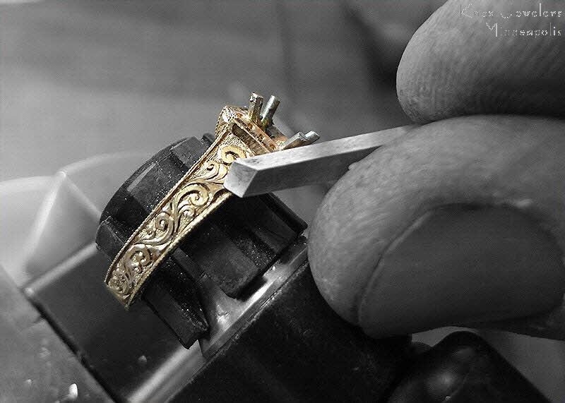 relief style hand engraved engagement ring
