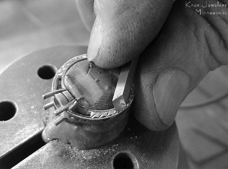 Hand engraving an engagement ring with standard bright-cut method