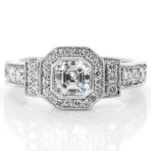 Custom engagement ring design created by Knox Jewelers featuring an asscher center stone surrounded by a geometric diamond halo.