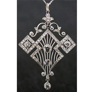 Antique diamond pendant featuring Art Deco era geometric design motifs.