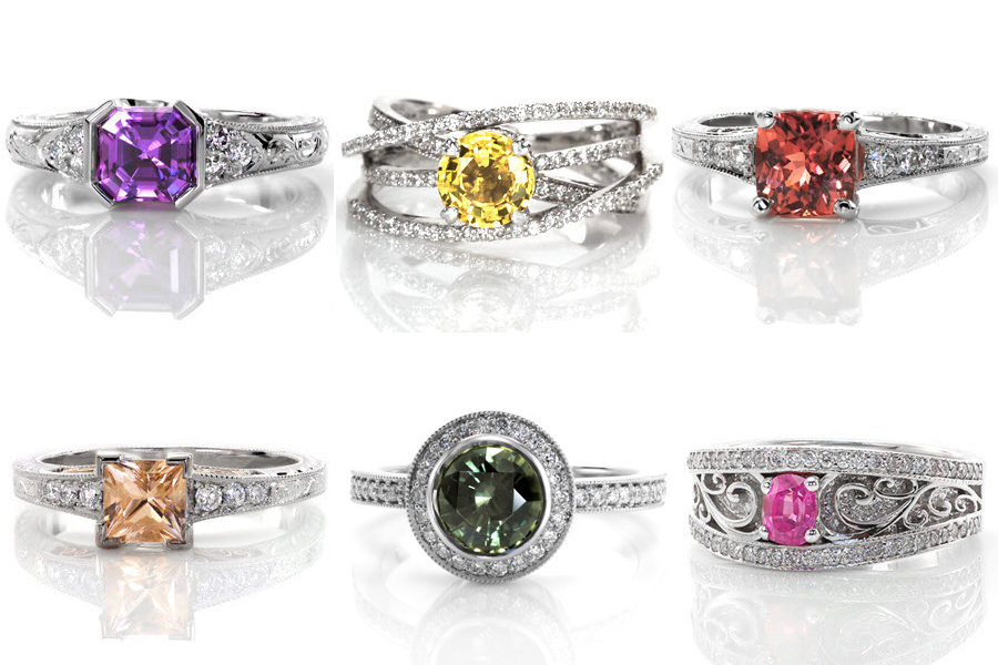 Colors Custom Creation Gemstones Unique Engagement Rings