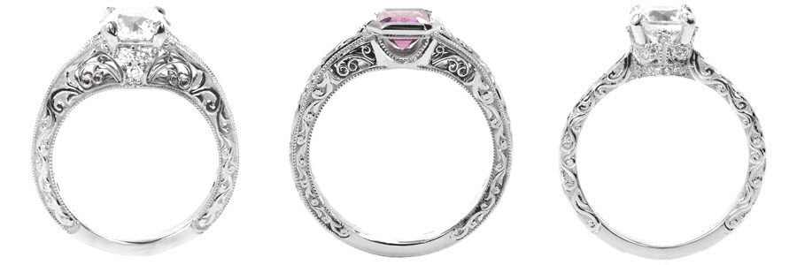Relief-Scroll Unique Engagement Rings