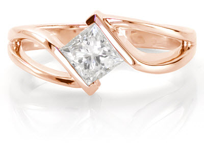Rose gold contemporary engagement ring shown with 1.00 carat princess cut
