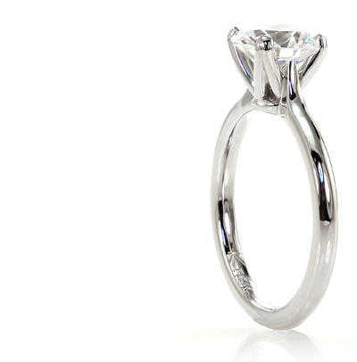 Platinum diamond solitaire engagement ring.