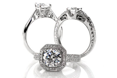 Unique engagement rings at Knox Jewelers. Specializing in halo engagement rings, filigree engagement rings, micro pave engagement rings, and sapphire engagement rings.
