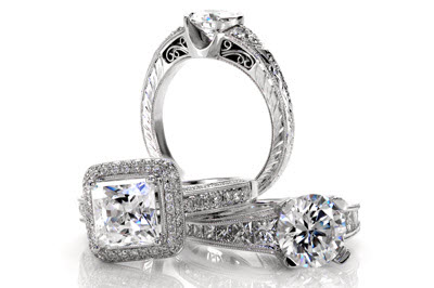 Unique cushion cut engagement rings at Knox Jewelers. Cushion cut engagement rings with halos, filigree, and hand engraving. White Gold Engagement Rings and Platinum Wedding Rings.