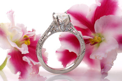 Unique radiant cut engagement rings at Knox Jewelers with hand engraving. Platinum Engagement Rings.