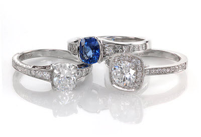 Unique antique three stone engagement rings at Knox Jewelers in Minneapolis.