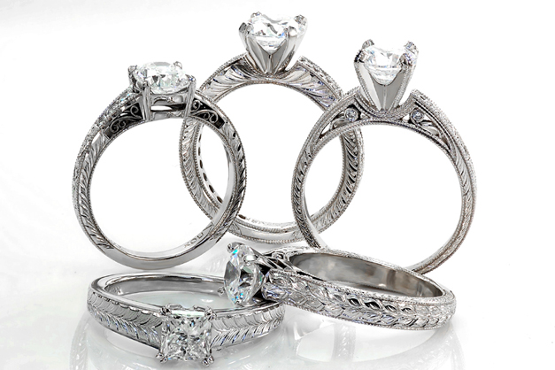 5 hand engraved rings Jewelry Unique Engagement Rings