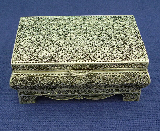Beautiful sterling silver Telkari jewelry box with open-work filigree