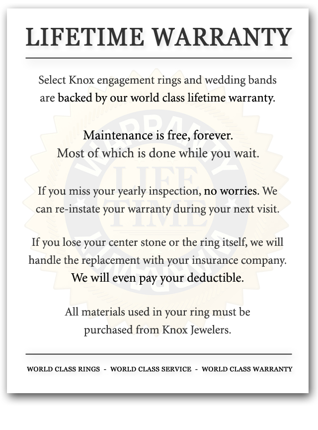 Every Knox engagement ring and wedding band is backed by our world class lifetime warranty.
