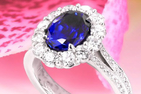 Blue sapphire halo engagement ring in Portland
