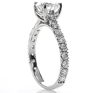 Platinum engagement ring with french cut setting.
