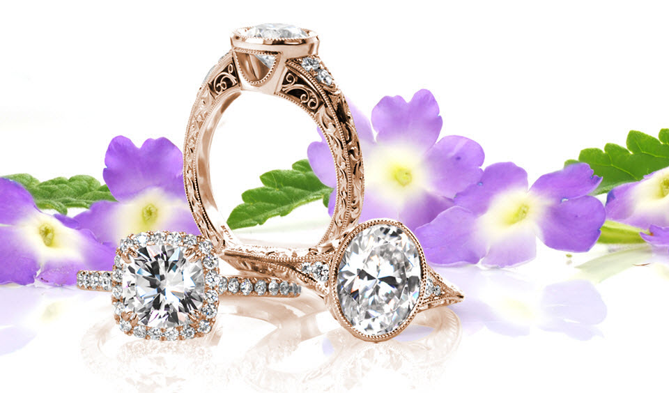 Stunning array of hand-crafted rose gold engagement rings in Atlanta. These rose gold designs are of the highest heirloom quality whether you're looking for an antique engagement ring, a diamond rose gold halo, or something modern.