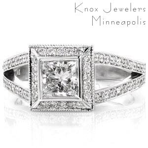 Here is a beautiful split shank micro pave, halo design engagement ring with a princess center diamond