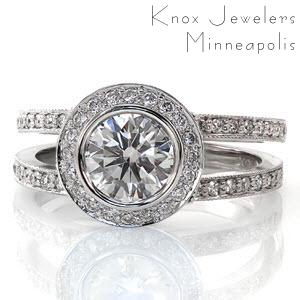 round halo bezel set split shank engagement ring