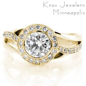 Hudson engagement ring with a bezel set round brilliant diamond and micro pave halo.