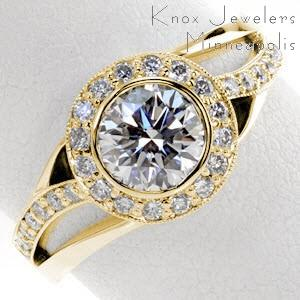 Fresno halo engagement ring with round center and split shank open band with diamonds.